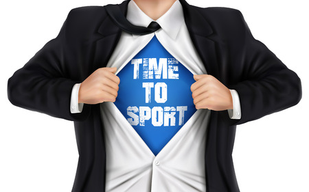 underneath: businessman showing Time to sport words underneath his shirt over white background Illustration