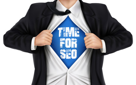 underneath: businessman showing Time for SEO words underneath his shirt over white background Illustration