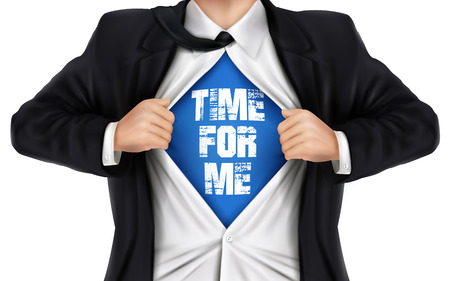 underneath: businessman showing Time for me words underneath his shirt over white background