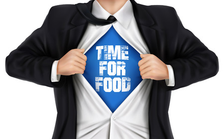 underneath: businessman showing Time for food words underneath his shirt over white background Illustration