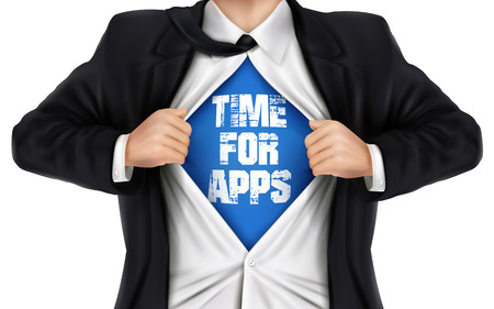 underneath: businessman showing Time for apps words underneath his shirt over white background