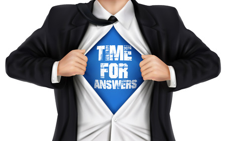 react: businessman showing Time for answers words underneath his shirt over white background Illustration