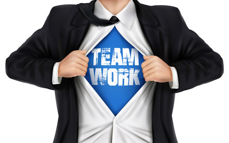 underneath: businessman showing Teamwork word underneath his shirt over white background