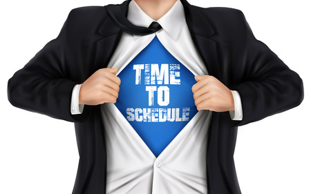 underneath: businessman showing Time to schedule words underneath his shirt over white background