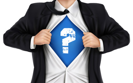 underneath: businessman showing question icon underneath his shirt over white background Illustration