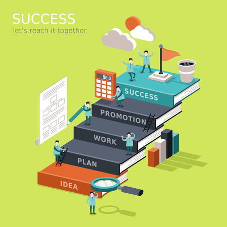 flat 3d isometric infographic for reach success concept with businessman climbing up book stairs to reach their goal Çizim