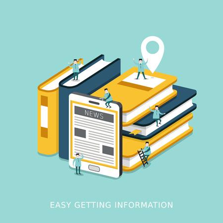 marca libros: infografía 3D isométrica plana para facilitar el concepto de obtención de información de libros y tableta amontonó juntos Vectores