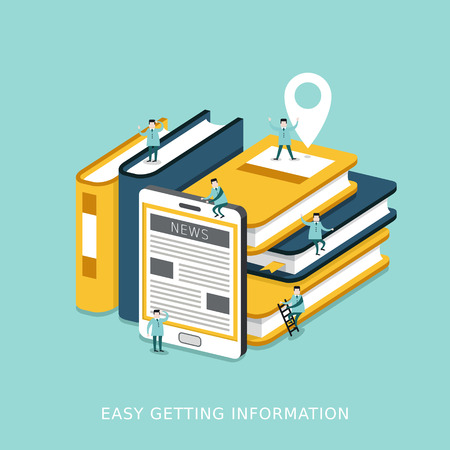 plat infographie 3d isométrique pour faciliter l'obtention concept de l'information avec les livres et les tablettes entassés