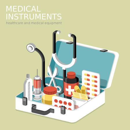 platte 3D isometrische infographic voor medische instrumenten met hulp-kit