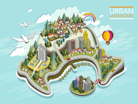 fantasy landscape: flat 3d isometric infographic for lovely urban landscape with forest and mountains