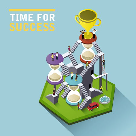 trofeo: tiempo para el éxito plana infografía 3D isométrica con la gente que suben las escaleras de reloj de arena para alcanzar el trofeo
