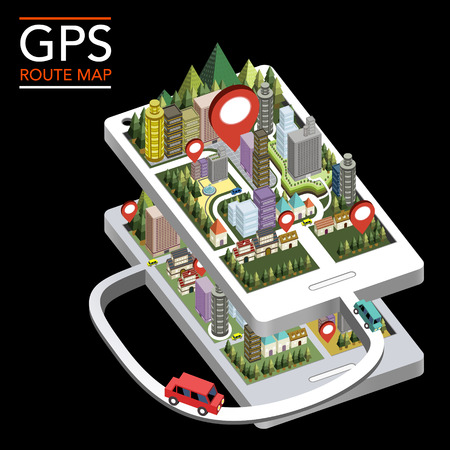 GPS route map flat 3d isometric infographic with city scene showed up from smartphone