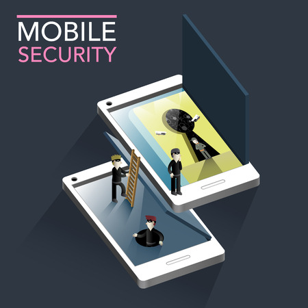 checking accounts: mobile security concept flat 3d isometric infographic with thieves trying to invade a place