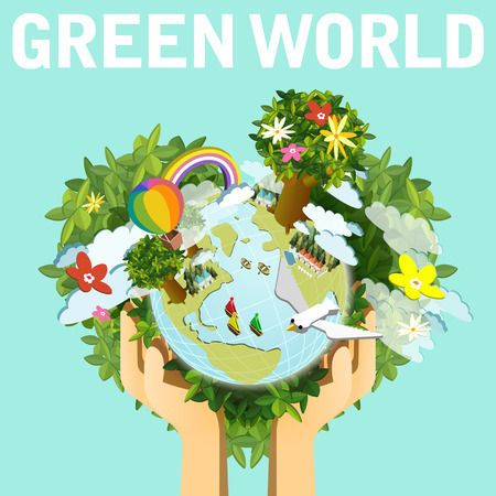 손이 아름다운 지구를 들고와 생태 개념 평면 3D 아이소 메트릭 인포 그래픽