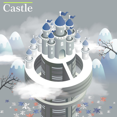 3d isometric infographic with stately white castle Vector