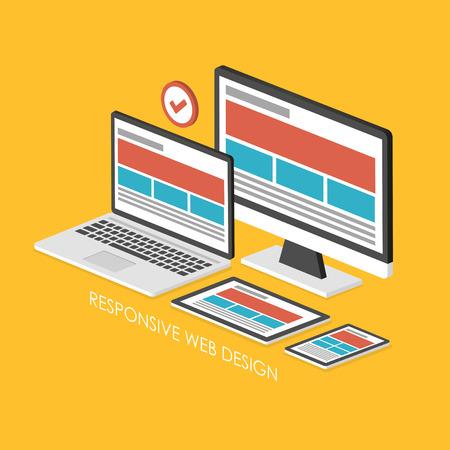 3D isometrico infografica per web design reattivo su sfondo giallo