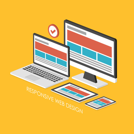 3d isometrische infographic voor responsive webdesign via de gele achtergrond