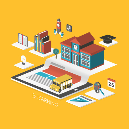 e learn: e-learning concept 3d isometric infographic with tablet and school Illustration