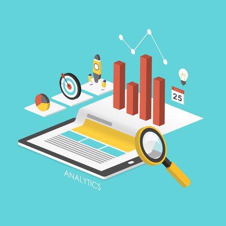 business concept 3d isometric infographic with tablet showing data analytics