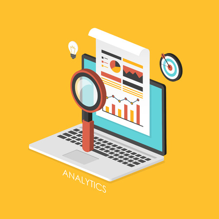 business concept 3d isometric infographic with laptop showing data analytics