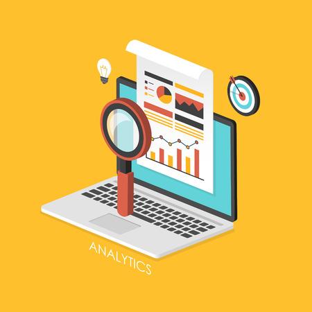 investigando: concepto de negocio infograf�a 3D isom�trica con la computadora port�til que muestra el an�lisis de datos Vectores