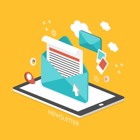 newsletter concept 3d isometric infographic with tablet showing an email Illustration