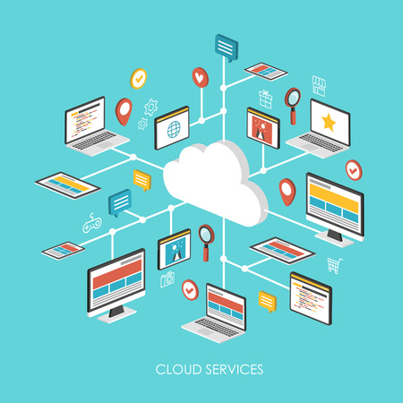 web hosting: cloud services concept 3d isometric infographic over blue background Illustration
