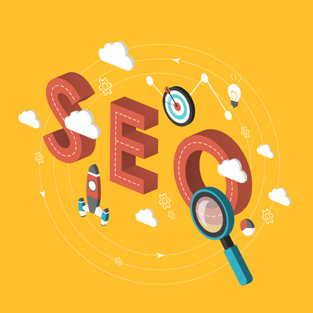 SEO concept 3d isometric infographic over yellow background Vector