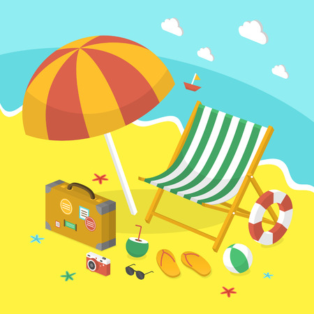3d isometric infographic for summer holiday concept