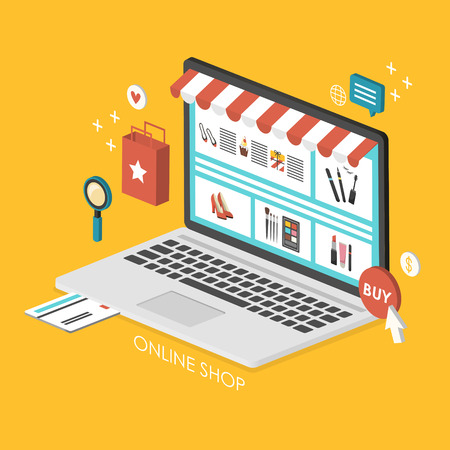 online shopping concept 3d isometric infographic with laptop showing website 일러스트