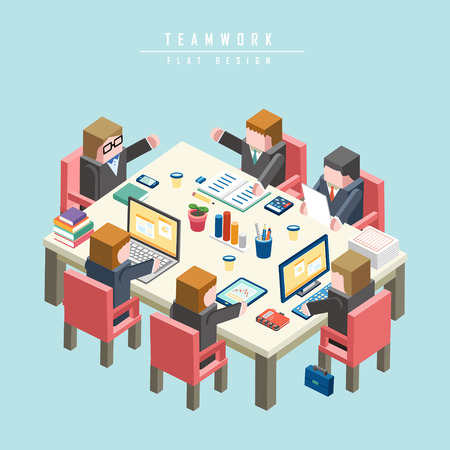 teamwork concept 3d isometric infographic with businessman having a meeting Vettoriali