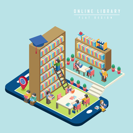 library shelf: online library concept 3d isometric infographic with smartphone showing a library Illustration