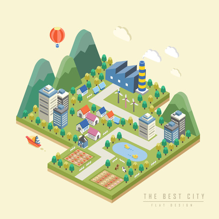 environment: 3d isometric infographic with lovely city surrounded by mountains