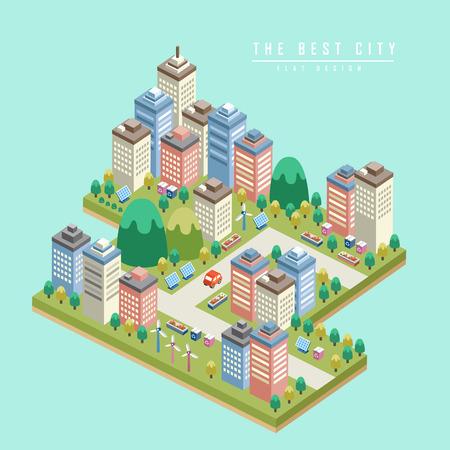 고층 건물과 현대적인 도시 3D 아이소 메트릭 인포 그래픽