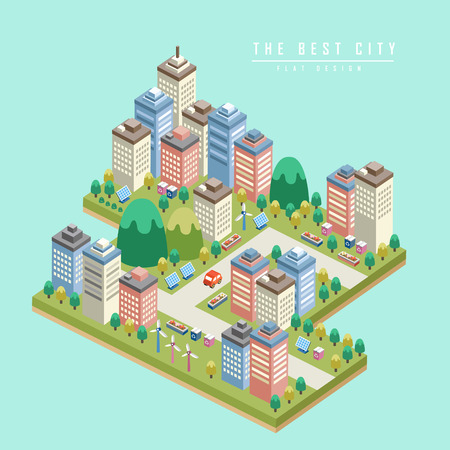 ecosystems: modern city 3d isometric infographic with tall buildings