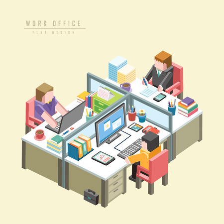 equipos trabajo: concepto de oficina de trabajo infograf�a 3D isom�trica con empresarios