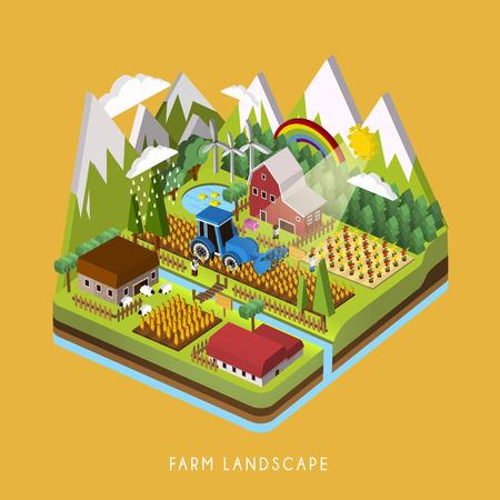 3d isometrische infographic voor adorable boerderij landschap over geel