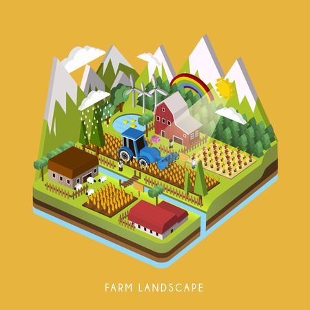 ovejas: Infograf�a 3D isom�trica de adorable paisaje agr�cola sobre amarillo Vectores