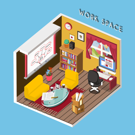 work space: 3d isometric infographic for cozy work space over blue Illustration