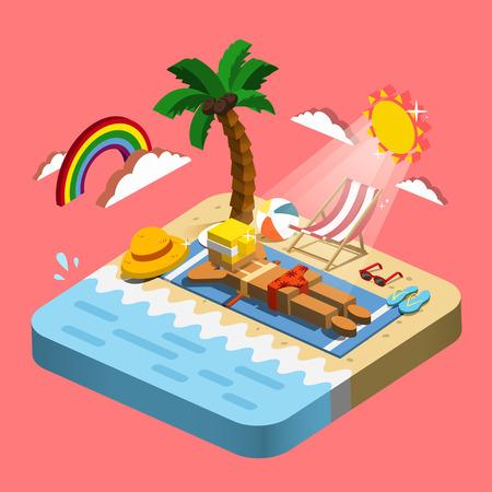 일광욕 장면 여름 휴양 개념 3D 아이소 메트릭 인포 그래픽