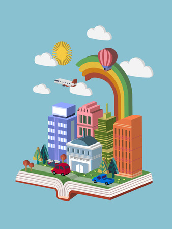 knowledge concept: knowledge concept 3d isometric infographic with a book showing beautiful city scene