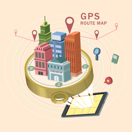 route map: GPS route map 3d isometric infographic with tablet showing beautiful city scene