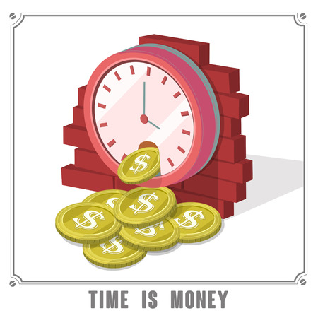 analogy: time is money concept 3d isometric infographic with clock dropping coins
