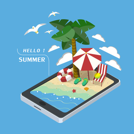 summer recreation concept 3d isometric infographic with tablet showing beach scene Illustration