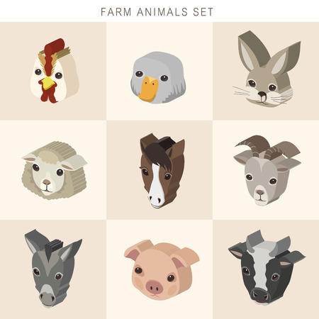 amiable: lovely farm animals set 3d isometric infographic