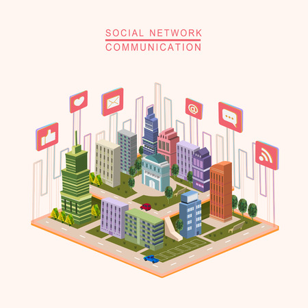 social network concept 3d isometric infographic with city scene Illustration