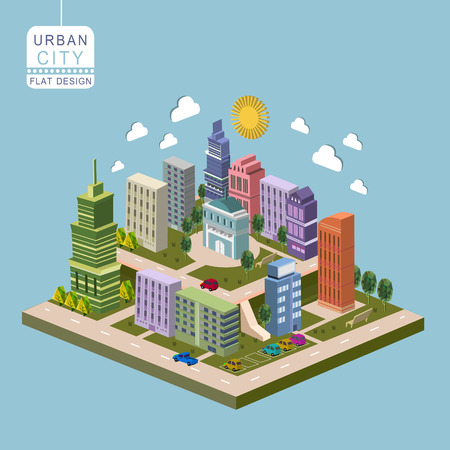 network marketing: urban city concept 3d isometric infographic with modern buildings Illustration
