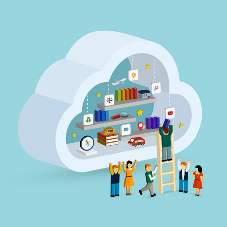 cloud service: cloud service concept 3d isometric infographic with a man taking out a book from internet