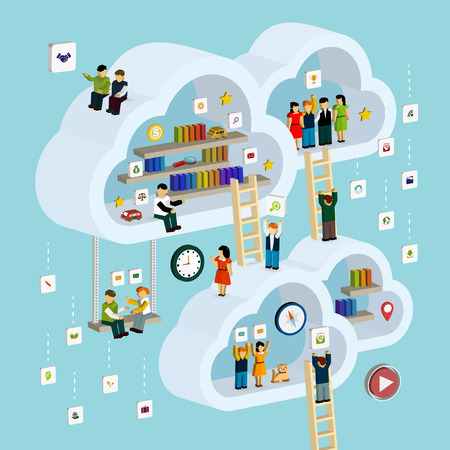 cloud service concept 3d isometric infographic with a man taking out a book from internet
