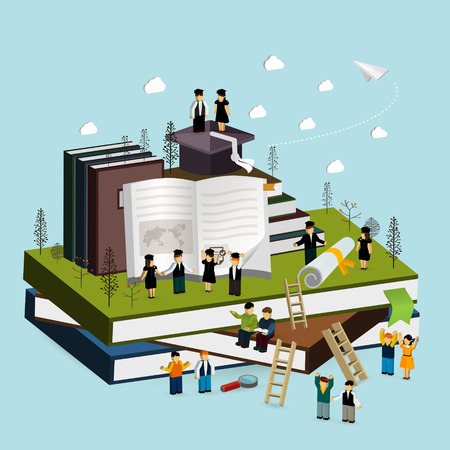 graduation concept 3d isometric infographic with people standing on a pile of books and cheering together